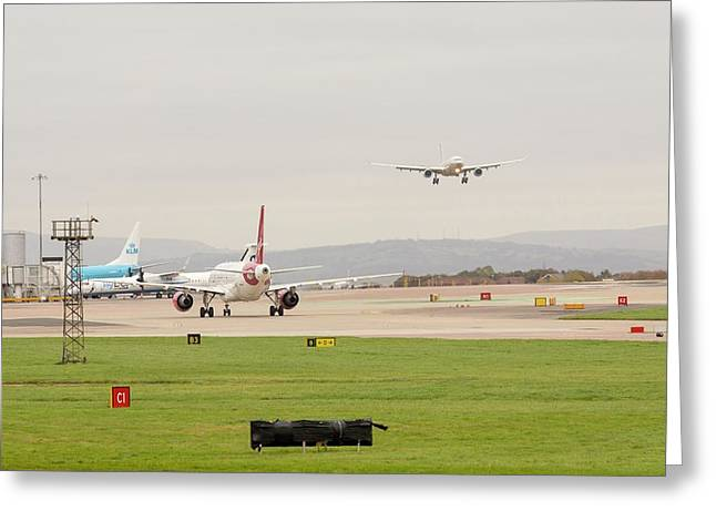 Plane Coming In To Manchester Airport Greeting Card