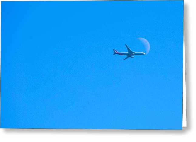 Plane Crossing The Moon Greeting Card