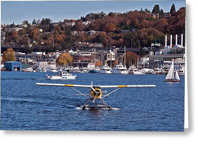 Plane On Lake Union Seattle Greeting Card by Valerie Garner