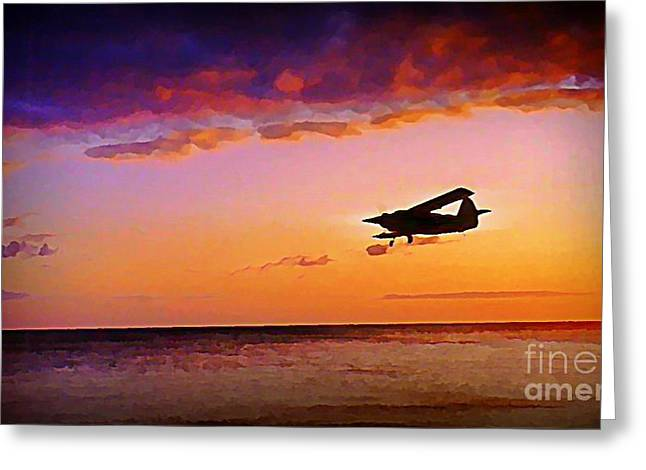 Plane Pass At Sunset Greeting Card