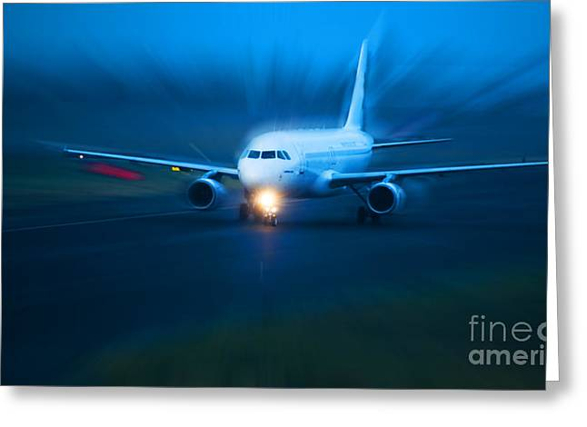 Plane Takes Of At Dusk Greeting Card by Michal Bednarek
