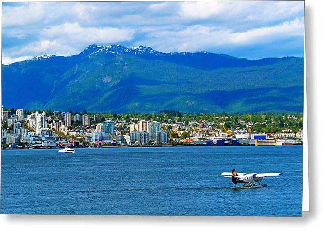 Planes Boats And Mountains In Vancouver  Greeting Card by Carol Cottrell