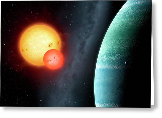 Planet Around Binary Star Kepler-453 Greeting Card by Mark Garlick