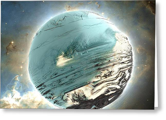 Planet Blue Greeting Card by Bernard MICHEL