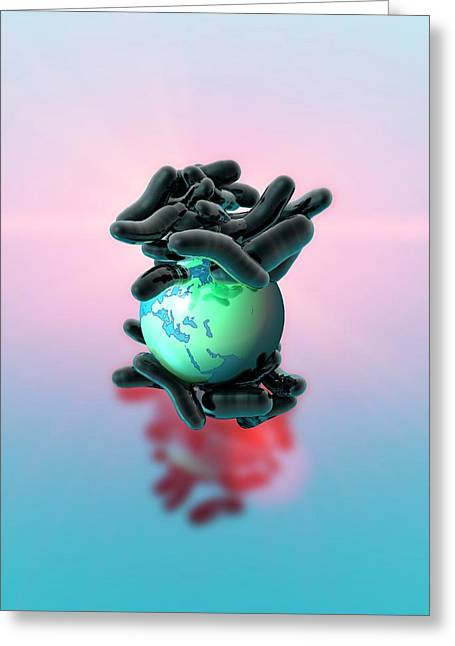 Planet Earth And Bacteria Greeting Card by Victor Habbick Visions