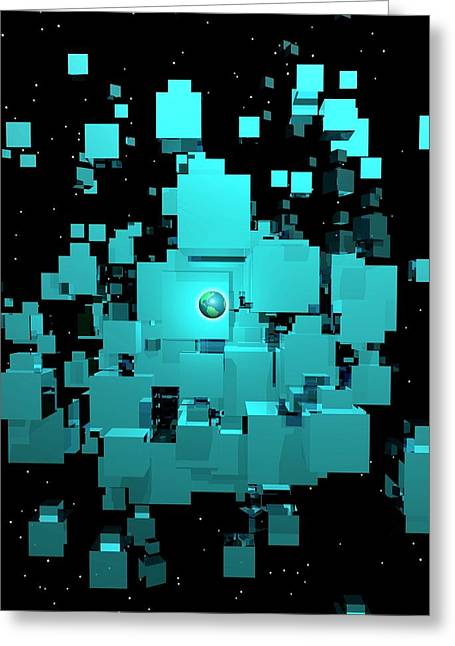 Planet Earth And Cubes Greeting Card by Victor Habbick Visions