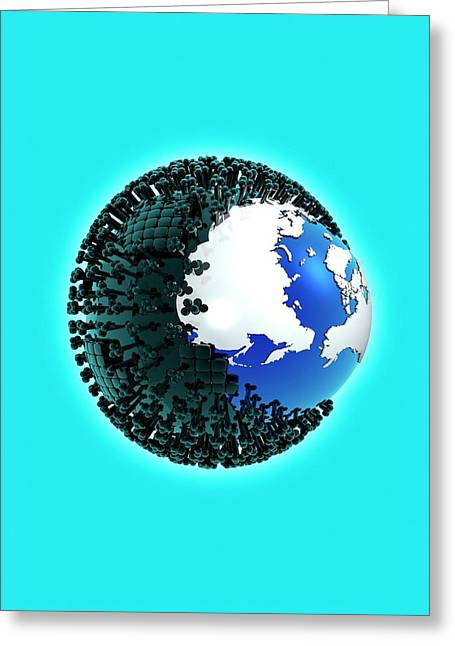 Planet Earth And Virus Greeting Card by Victor Habbick Visions