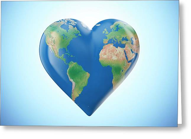 Planet Earth In The Shape Of A Heart Greeting Card by Andrzej Wojcicki
