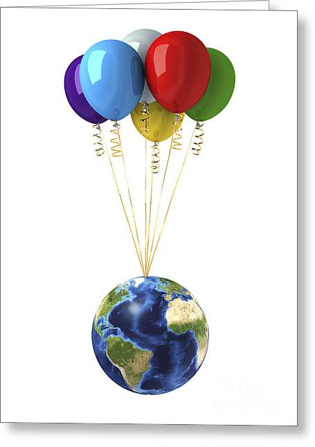 Planet Earth Lifted By A Bunch Greeting Card