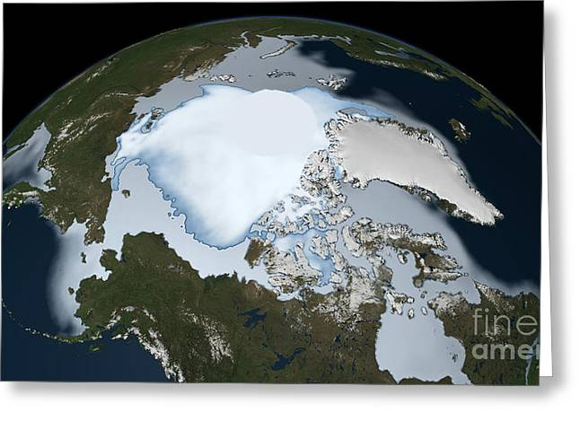 Planet Earth Showing Sea Ice Coverage Greeting Card by Stocktrek Images