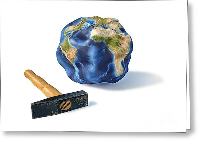 Planet Earth Smashed By A Hammer Greeting Card by Leonello Calvetti