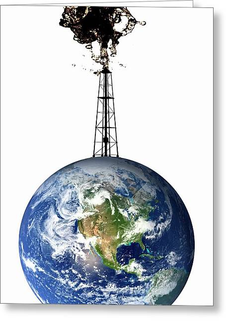 Planet Earth With An Oil Well Greeting Card