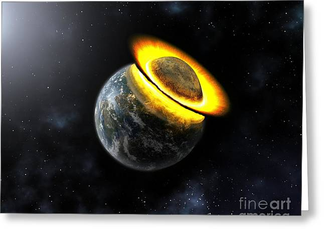 Planet Hitting The Earth, Artwork Greeting Card by Mikkel Juul Jensen