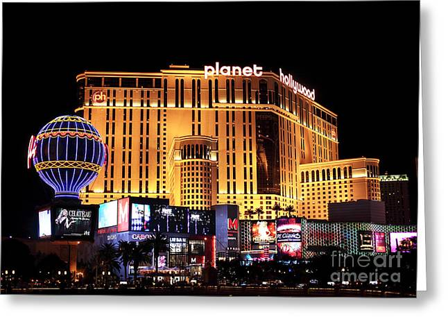 Planet Hollywood At Night Greeting Card by John Rizzuto