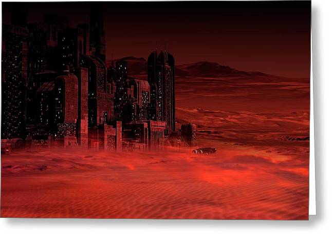Planet Mars In The Future Greeting Card by Victor Habbick Visions
