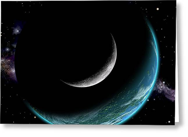 Planet With Moon Greeting Card
