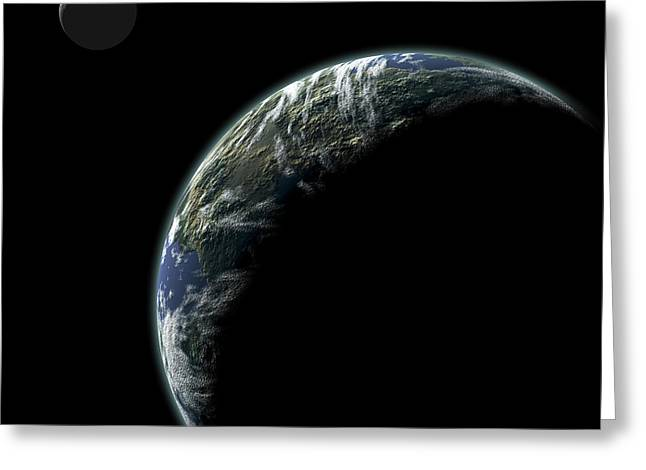 Planet With Moon No.2 Greeting Card