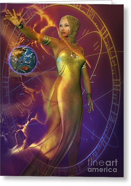 Planetary Energy Greeting Card by Shadowlea Is
