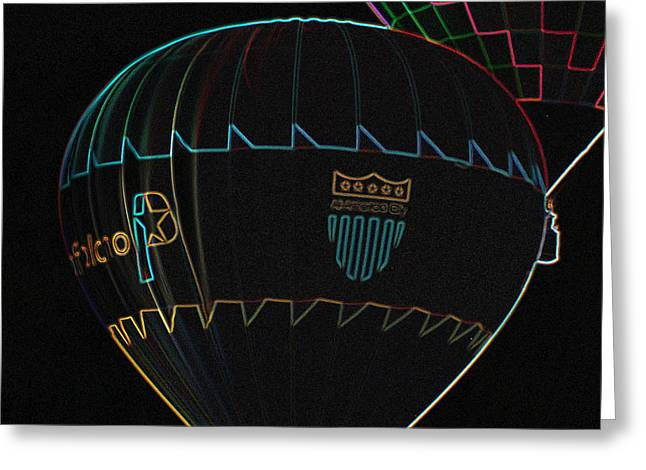 Plano Balloon In Neon Greeting Card