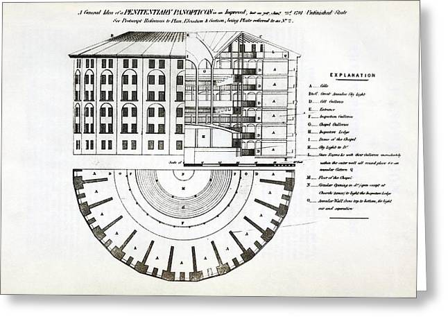 Plans For A Panopticon Prison Greeting Card