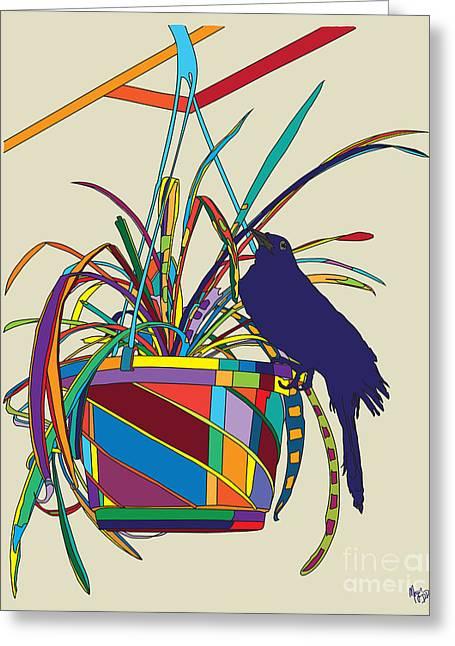 Plant Bird Pop Greeting Card by Megan Dirsa-DuBois