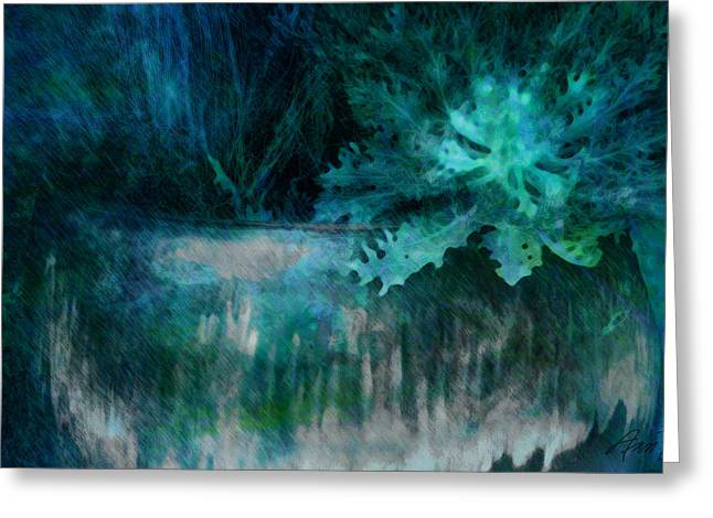 Planter In Shades Of Blue Greeting Card by Ann Powell