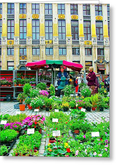 Plants For Sale In Front Of Guild Houses-brussels-belgium Greeting Card by Ruth Hager