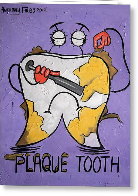 Plaque Tooth Greeting Card by Anthony Falbo