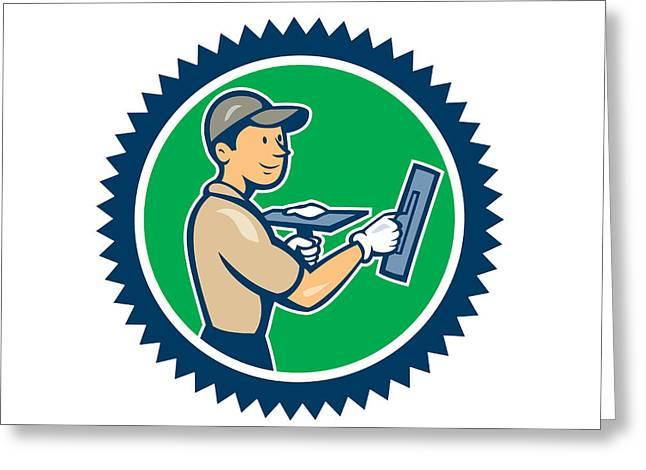 Plasterer Masonry Worker Rosette Cartoon Greeting Card