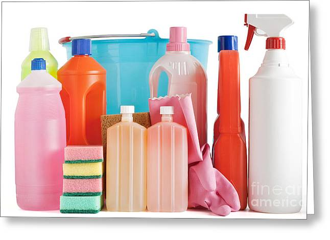 Plastic Detergent Bottles And Bucket Greeting Card by Antonio Scarpi