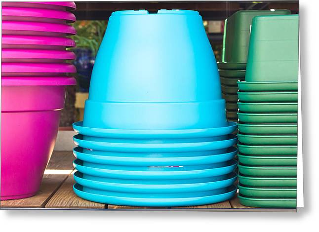 Plastic Pots Greeting Card by Tom Gowanlock