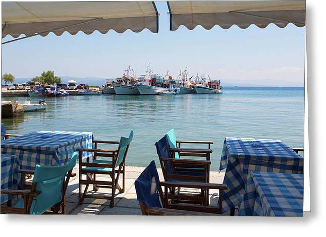 Platanias, Thessaly, Greece. Tables Greeting Card