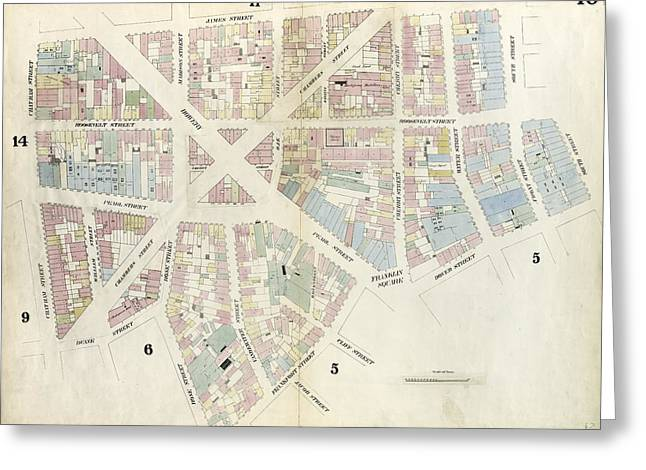 Plate 10 Map Bounded By Chatham Street, James Street, South Greeting Card