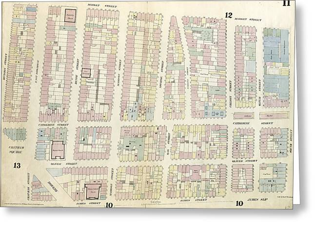 Plate 11 Map Bounded By Chatham Square, Division Street Greeting Card by Litz Collection
