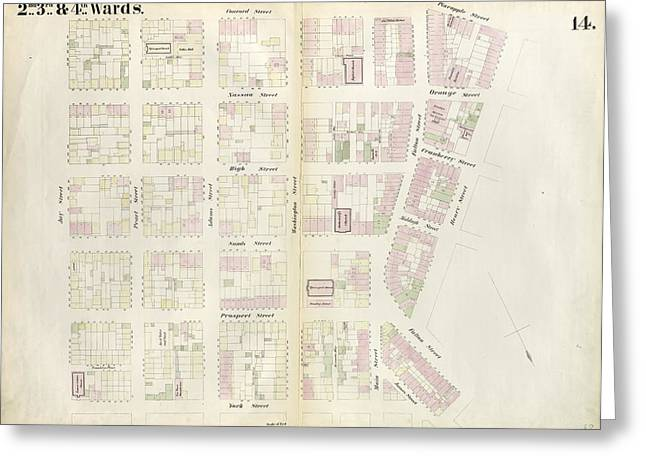 Plate 14 Map Bounded By Market, James Street, York Street Greeting Card