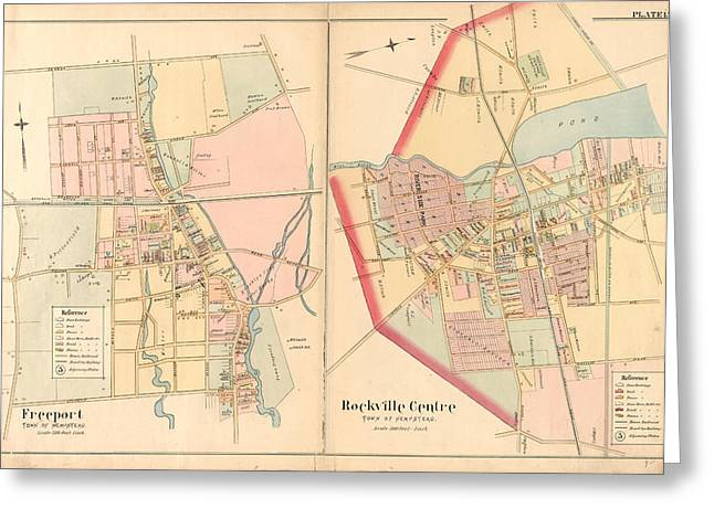 Plate 15 Freeport, Town Of Hempstead - Rockville Centre Greeting Card by Litz Collection