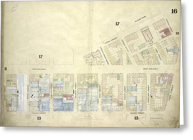 Plate 16 Map Bounded By West Broadway, Varick Street Greeting Card by Litz Collection