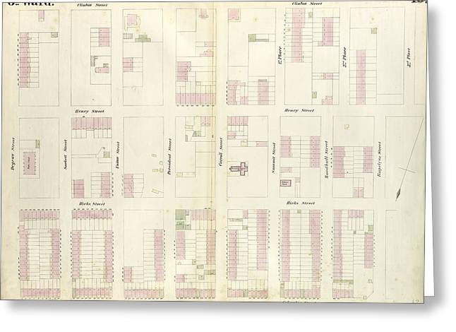 Plate 18 Map Bounded By Degraw Street, Clinton Street Greeting Card