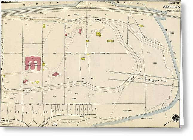 Plate 186 Bounded By Bolton Road Harlem River Greeting Card by Litz Collection