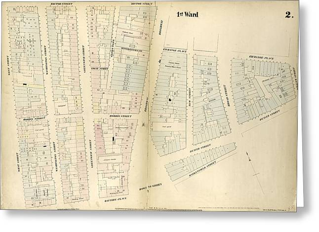 Plate 2 Map Bounded By Rector Street, Broadway, Exchange Greeting Card