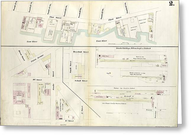 Plate 2 Map Bounded By South 8th Street, 1st Street Greeting Card by Litz Collection