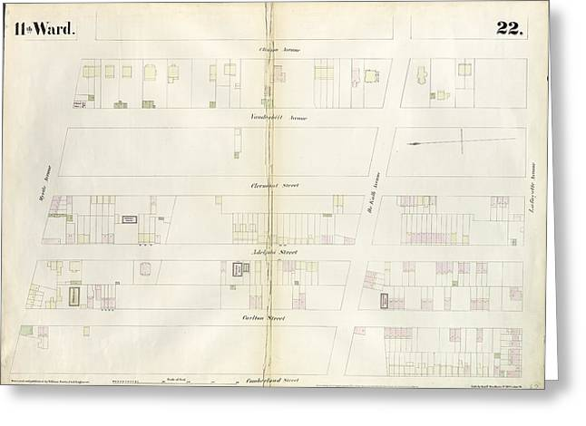 Plate 22 Map Bounded By Myrtle Avenue, Clinton Street Greeting Card