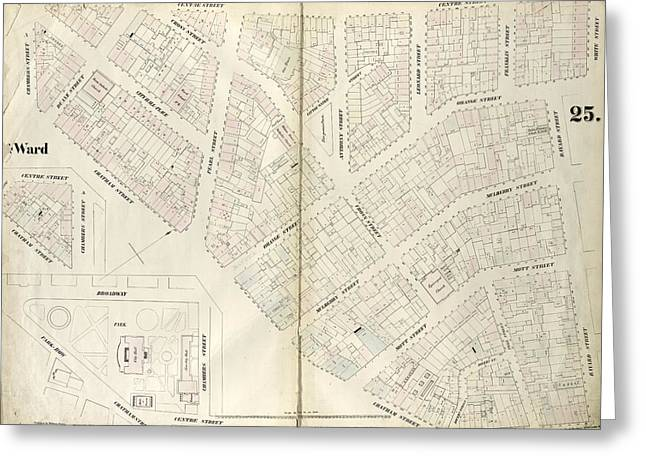 Plate 25 Map Bounded By Chambers Street, Center Street Greeting Card