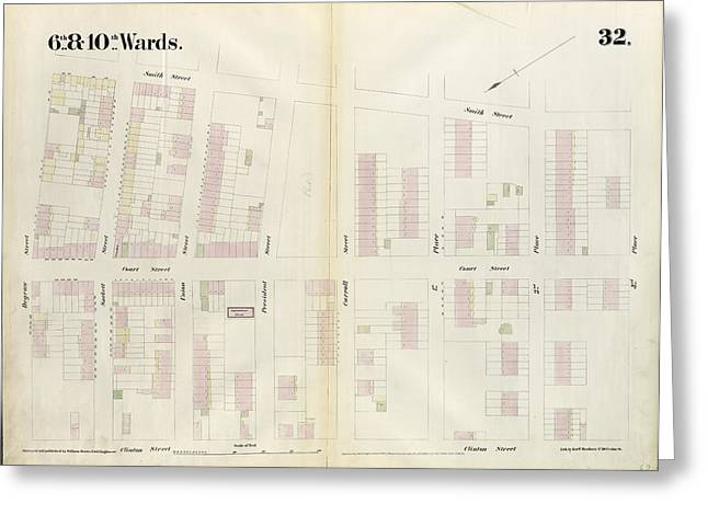 Plate 32 Map Bounded By Degraw Street, Smith Street Greeting Card