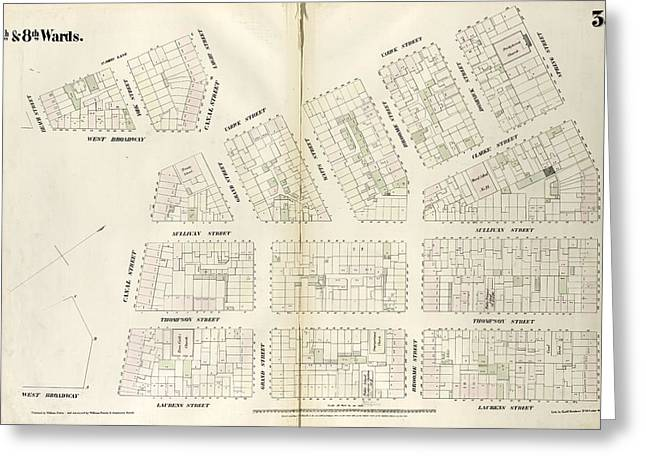 Plate 35 Map Bounded By Spring Street, Laurens Street Greeting Card by Litz Collection