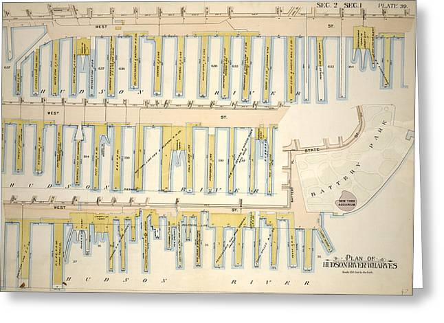 Plate 39, Sec. 2 & Sec. 1 Plan Of Hudson River Wharves Greeting Card by Litz Collection
