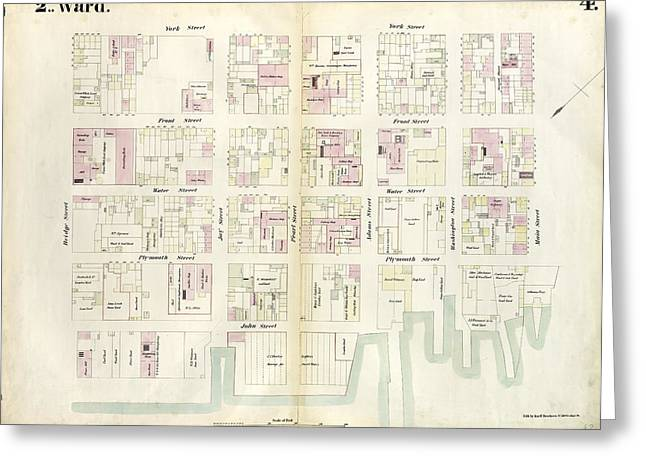 Plate 4 Map Bounded By East River, Bridge Street Greeting Card by Litz Collection