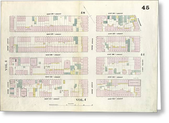 Plate 45 Map Bounded By West 18th Street, East 18th Street Greeting Card by Litz Collection