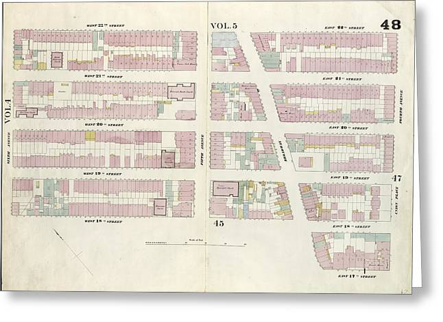 Plate 48 Map Bounded By West 22nd Street, East 22nd Street Greeting Card by Litz Collection
