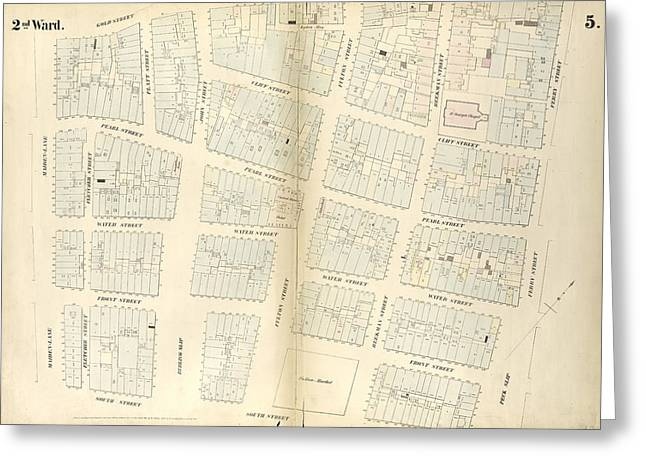 Plate 5 Map Bounded By Gold Street, Ferry Street Greeting Card by Litz Collection